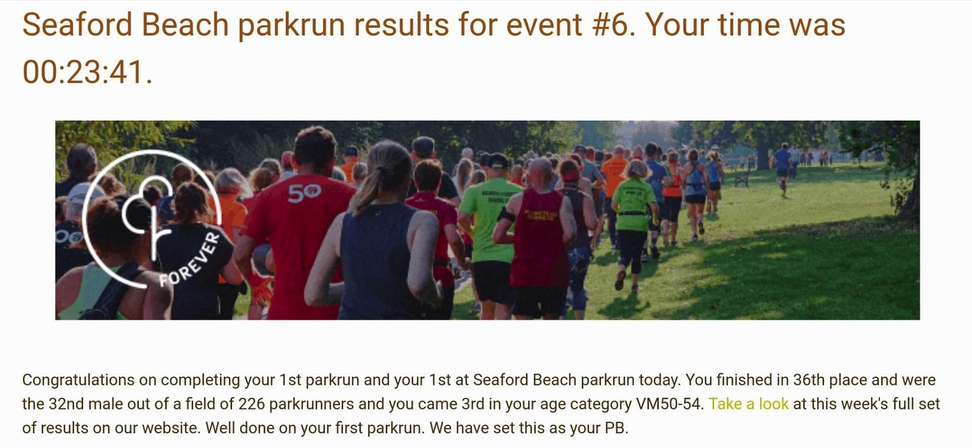 Kevin Millers Seaford Park Run 6th April 2019